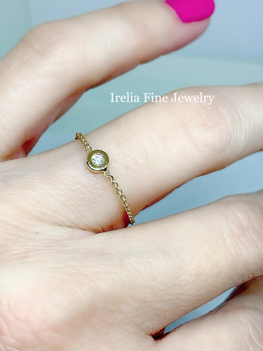 14k Gold Link Ring , 02ct Bezel Diamond on Chain Ring , Irelia Fine Jewelry , San Diego Jewelry
