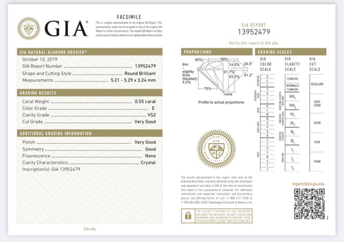 .55 Carat Round Diamond E , VS2 , GIA Certified