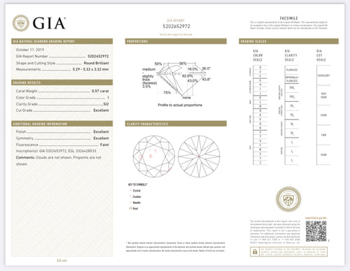 .57 Carat Round Diamond I , SI2 , Triple Excellent GIA Certified