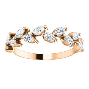 14K Gold 5/8 CTW Crown Leaf Diamond Anniversary Band or Stackable Ring