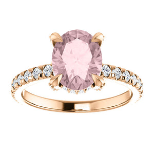 9x7mm Oval 14k Rose Gold Morganite Engagement Ring
