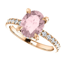 Load image into Gallery viewer, 9x7mm Oval 14k Rose Gold Morganite Engagement Ring