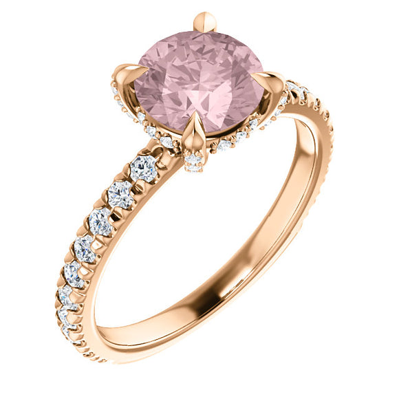 7mm Round 14k Rose Gold Morganite Engagement Ring