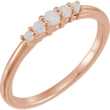 Load image into Gallery viewer, 14k Rose Gold 5 Stone Natural Australian Opal Ring Graduated Stackable Ring October Birthstone