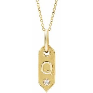 14K Yellow Gold Single Letter Diamond  Pendant, Comes with 14k Gold Chain