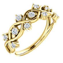 Load image into Gallery viewer, 14k Gold 3/4 Diamond Anniversary Band