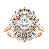 Ring Mounting for 1/2  Carat Round Diamond Center Engagement Ring with Moroccan Diamond Halo