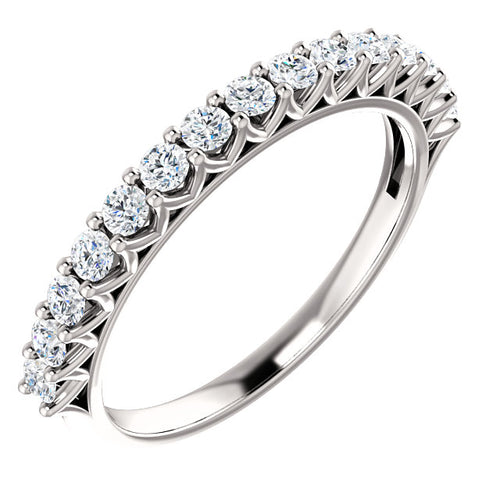 14K Gold 1/2 CTW Diamond Shared Prong Wedding or Stackable Ring