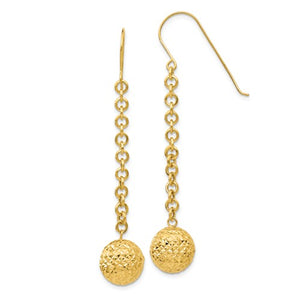 14k Yellow Gold Diamond Cut Bead Ball Dangle Earrings