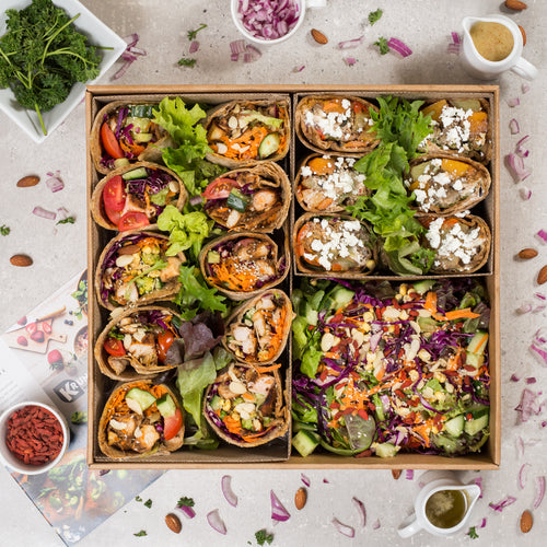 Assorted Chicken Wraps - Option 3 | Healthy Thai Chicken, Veggie Chicken & Thai Chicken Wraps - krunch platters
