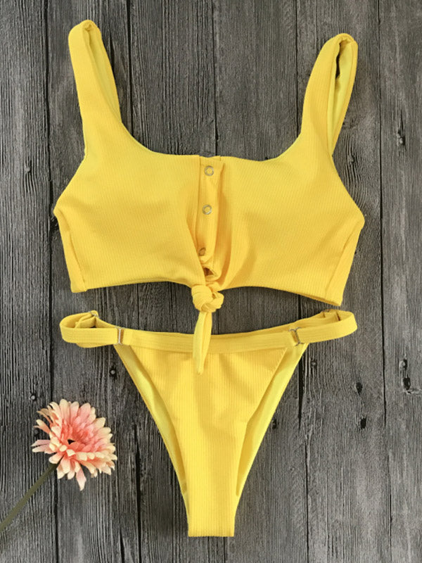 Plain Bandeau Ribbed Bikinis Swimwear