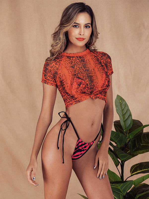 Snakeskin Print Lace-up Tankini Swimsuit