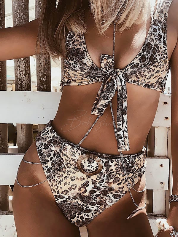 Leopard Gradient Belt Bikini Swimsuit