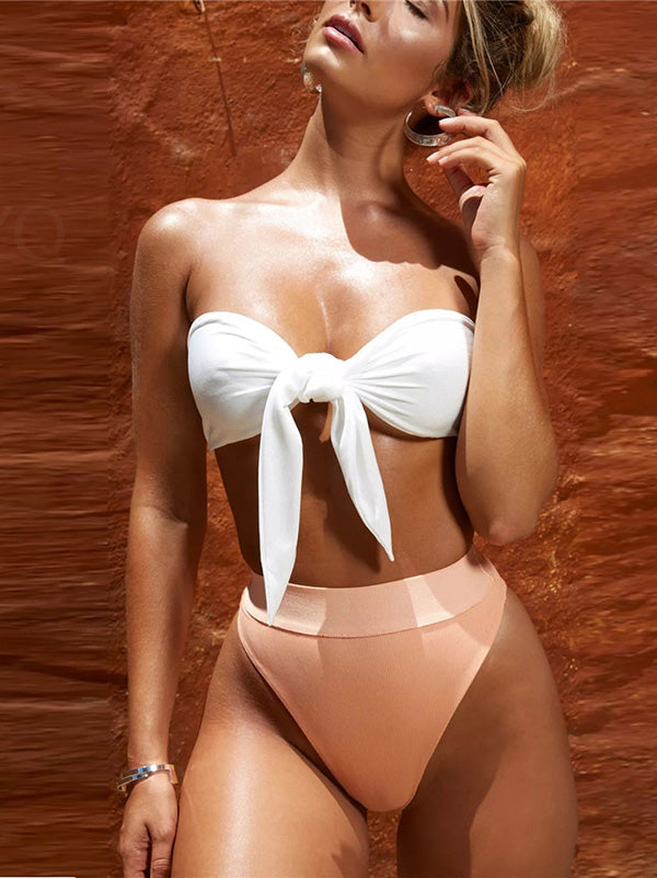 High Waisted Knot Top Bikinis Swimwear