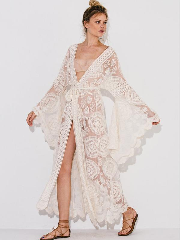 Bohemia Belted Lace Beach Cover-ups Swimwear