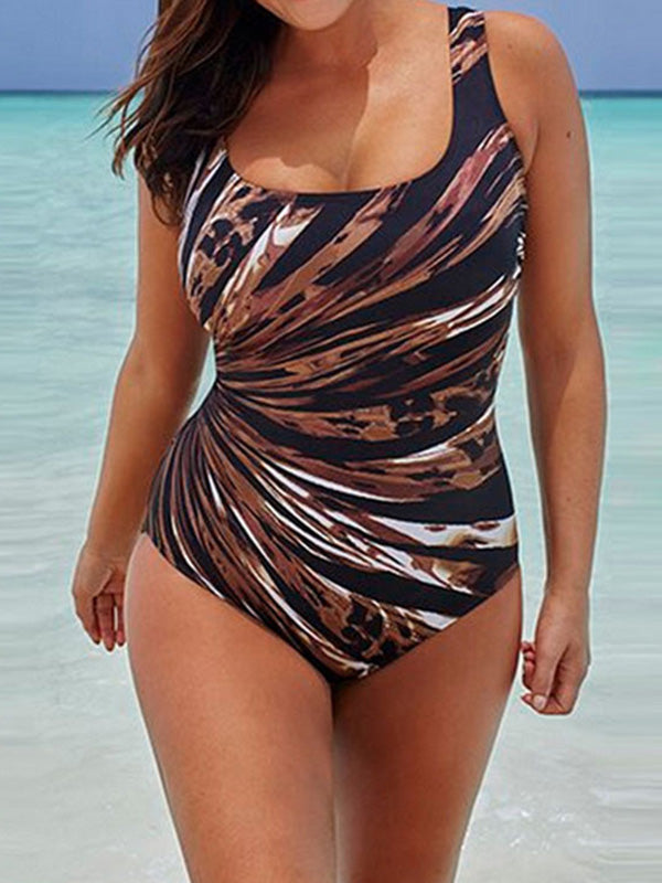 Plus Size Printed Striped One-piece Swimwear