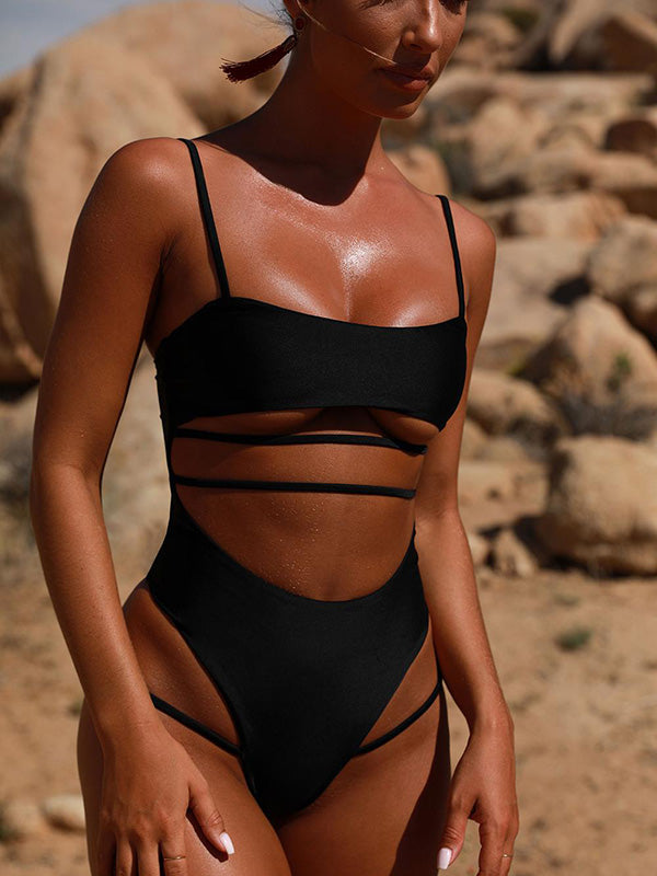 Solid Bandage One-piece Swimwear