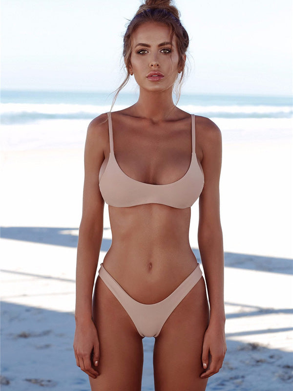 hottest sale newest collection top-rated official Sexy Solid Tight Bikinis Swimwear