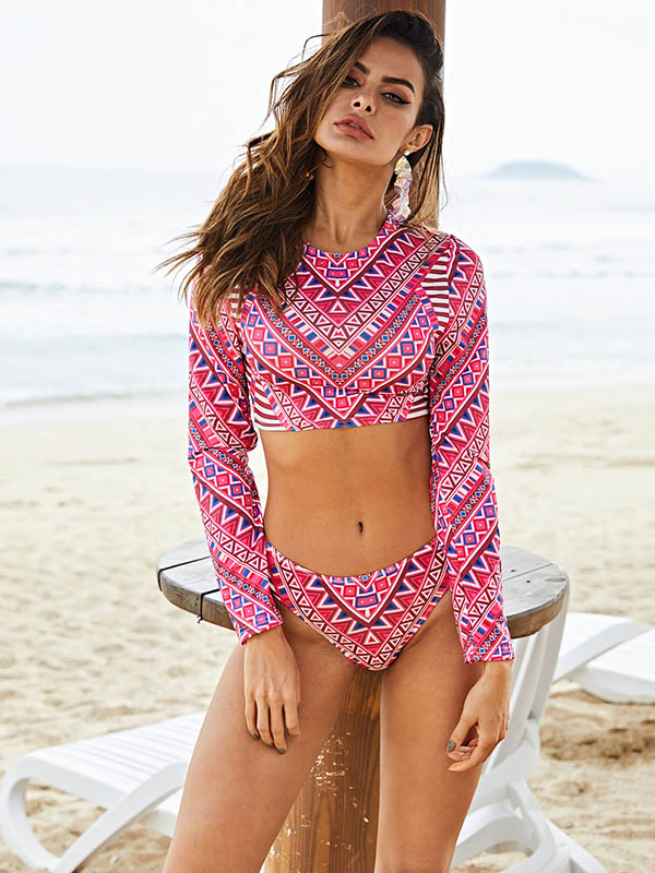 Geometric Pattern Long Sleeve Tankini Swimsuit