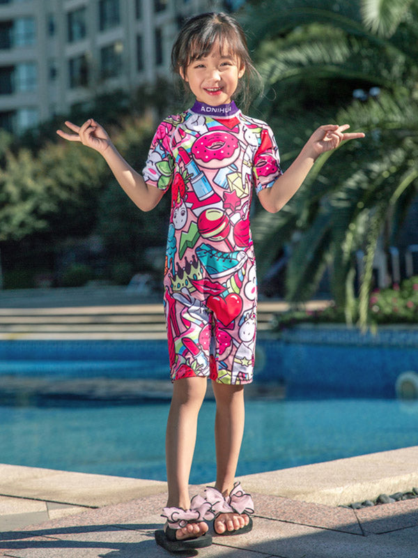 AONIHUA Graffiti Printed Jumpsuit Lovely Gril Swimwear