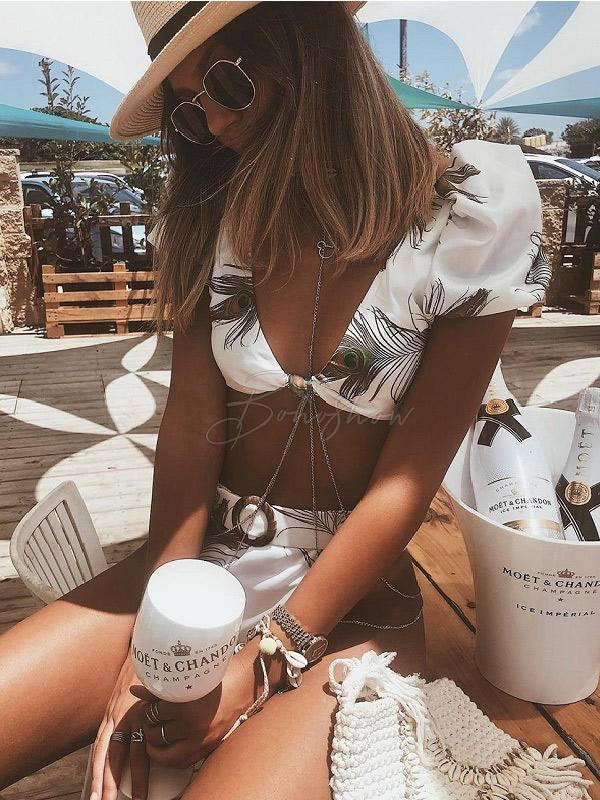 Sexy Knotted Short Sleeves Printing Sash Split Type Bikini Swimsuit