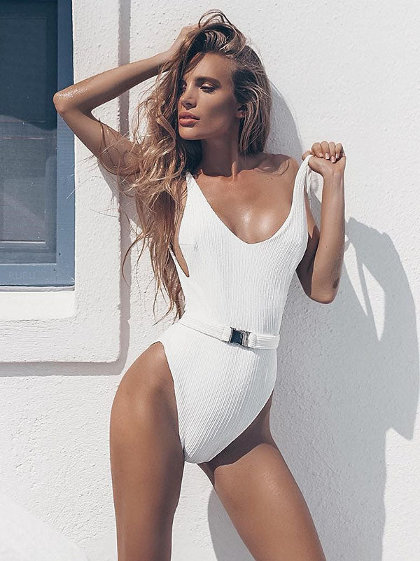 Solid Belted Sexy One-piece Swimwear