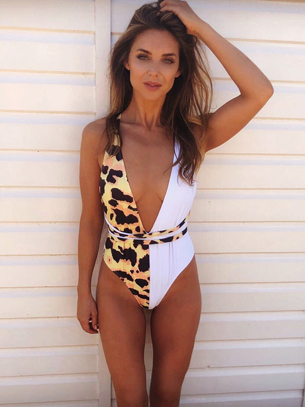 Half Printed One-piece Swimwear