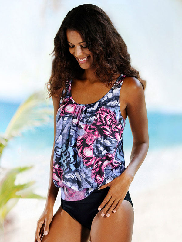 Printed Top With Plain Panty Tankini Swimsuit