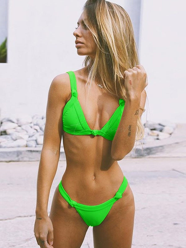 Fluorescent Color Bikini Swimsuit