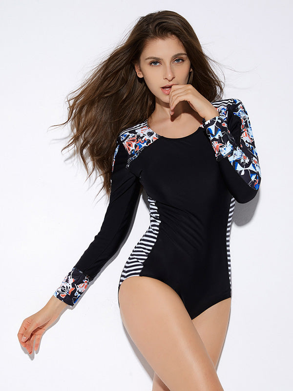 Stripes Floral Sexy Wetsuit