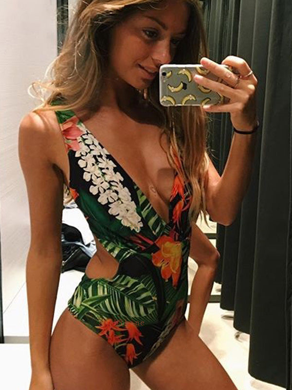Tropical Floral Printed Cutout One Piece Swimsuit