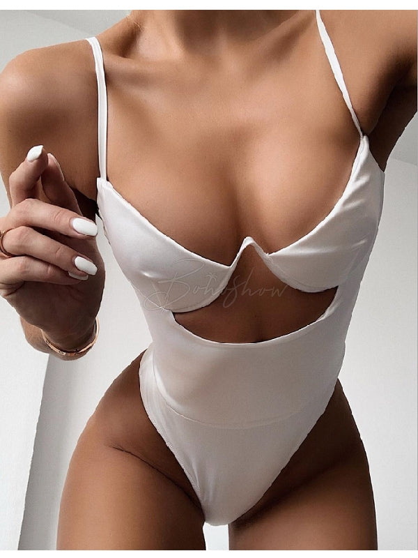 Sexy V-Neck One-Piece Swimwear