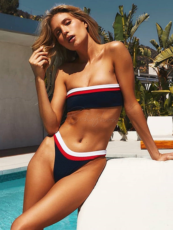 Contrast Color Stitching Bikini Swimsuit