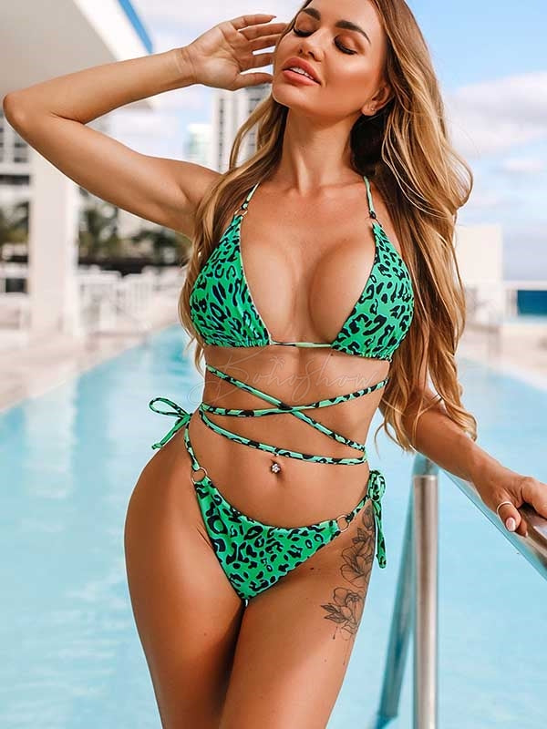 Sexy Spaghetti-Neck Bandage Split Type Bikini Swimsuit