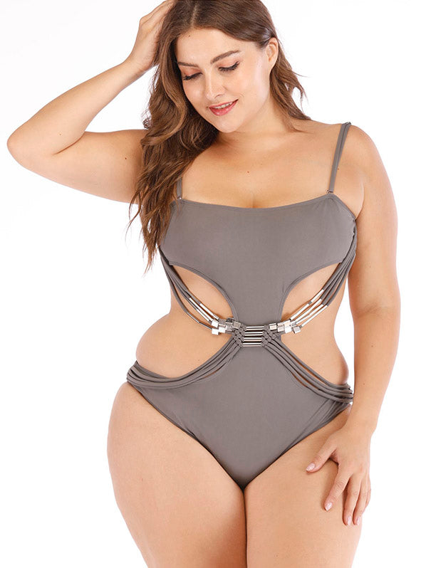 Solid Hollow Knitting One-piece Swimwear