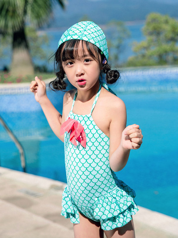AONIHUA Halter-neck Mermaid Little Girl One Piece