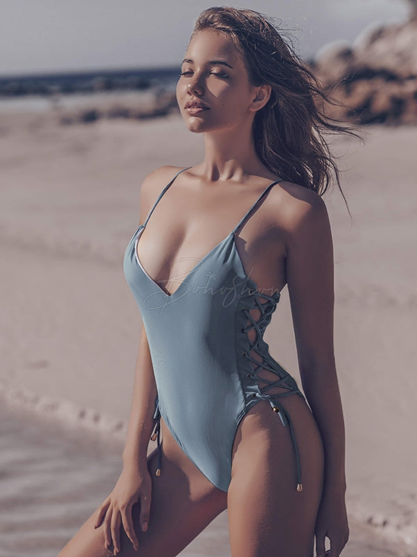 Sexy Spaghetti-Neck Hollow Bandage One-Piece Swimwear