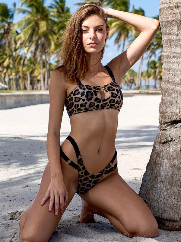 Sexy Leopard Print Hollow Bikinis Swimsuit