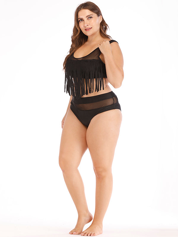 High Waist Tassels Plus Size Bikinis Swimwear