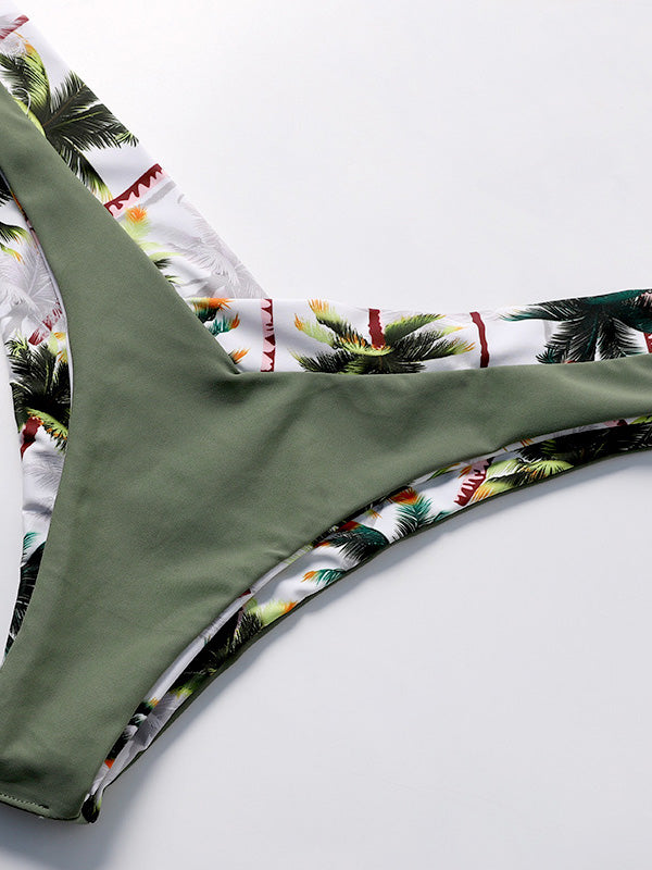 Bandeau Coconut-tree Printed Bikinis Swimwear
