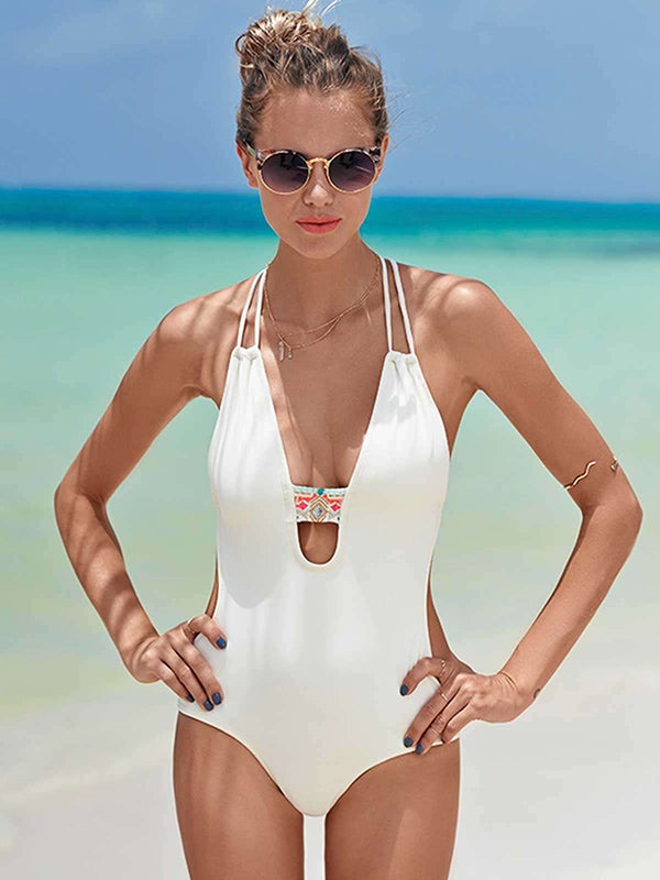 Sexy Fashion Plain One-piece Swimsuit