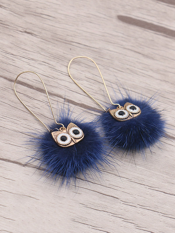 Cute 8 Colors Bohemia Owl Earrings