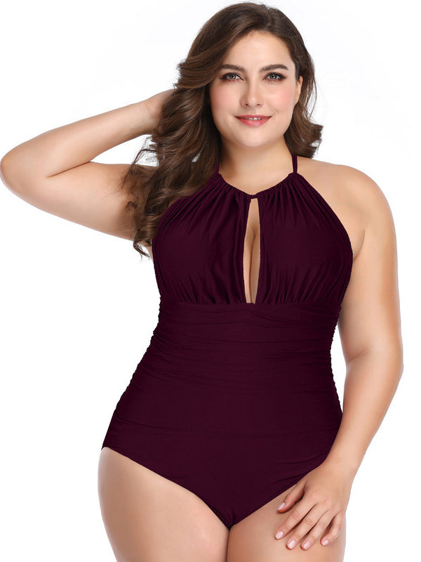 Halter-neck Printed Plus Size Swimwear