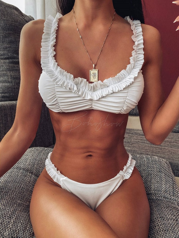 Sexy V-Neck Ruffled  Shoulder Strap Bikini Swimsuit