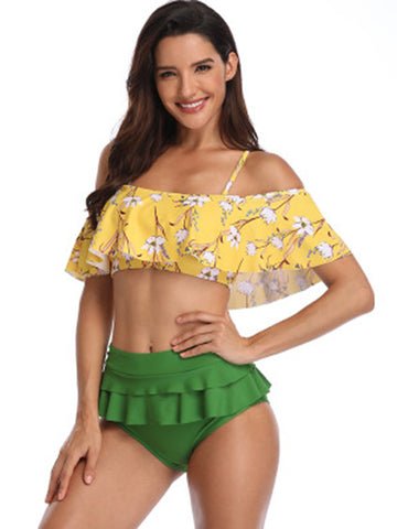 Strapless Solid Printed High Waist Bikinis Swimwear