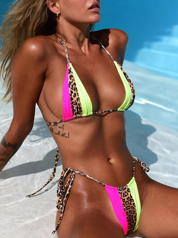 Split-joint Leopard Lace-Up Bikinis Swimwear