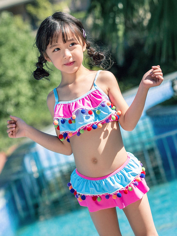AONIHUA Pompoms Layer Lovely Princess Swimwear