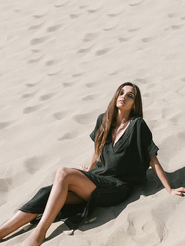 Soft Black V-neck Split-side Beach Long Dress Cover-up