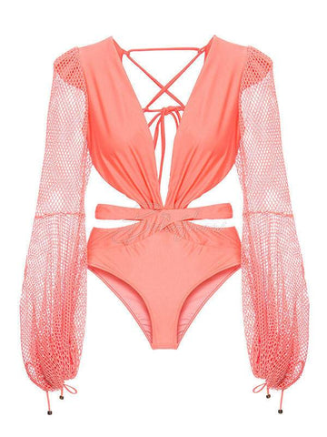 Solid Color One-Piece Swimsuit