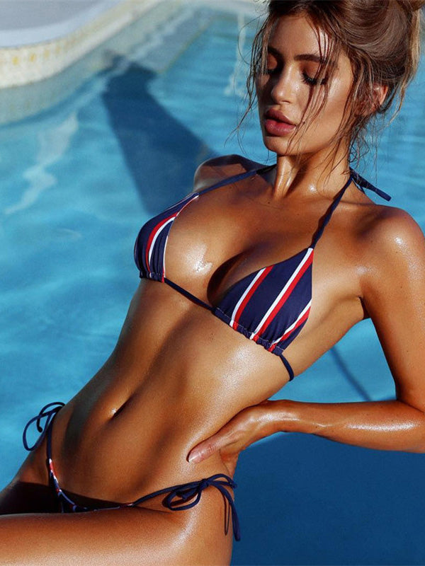 Striped Triangle Bikinis Swimwear